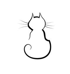 Cat line icon little cute pet vector