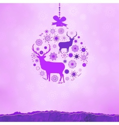 Christmas deer bauble card vector image