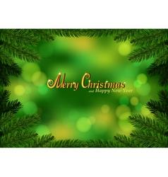 Christmas fir frame green background vector image vector image