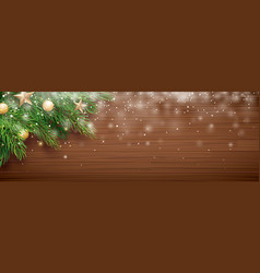 christmas fir tree with snow on wooden background vector image