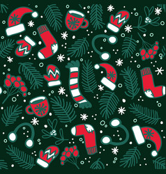 christmas pattern with red mittens socks hats vector image
