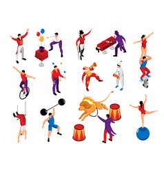 Circus isometric set vector