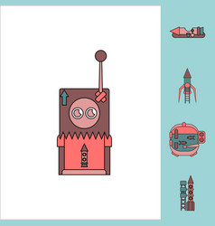 Collection of icons and space equipment vector