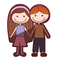 Color silhouette shading cartoon couple kids in vector