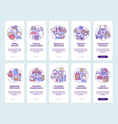Consumerism onboarding mobile app page screen set vector