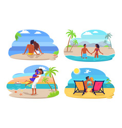 Couple seaside collection vector