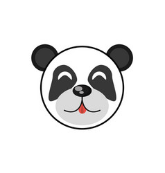 cute face panda animal cheerful vector image