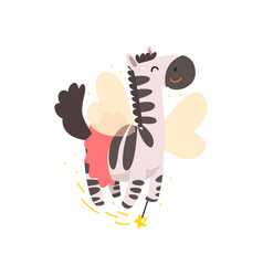 cute winged zebra flying with a magic wand vector image