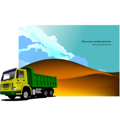 Desert landscape with tipper image vector