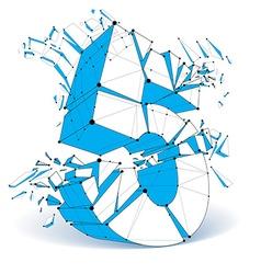 Dimensional wireframe number 5 blue demolished vector