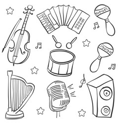 Doodle music element art vector