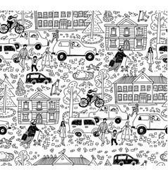 doodles street in sity people cars houses seamless vector image