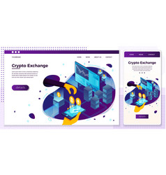 eps crypto currency exchange trade set vector image