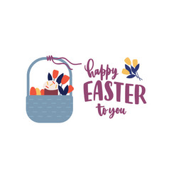 festive greeting card template with happy easter vector image