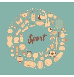 Fitness and sport elements in doodle style vector