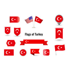 flag turkey big set icons and symbols vector image