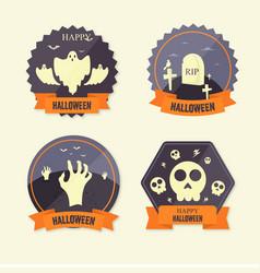 flat design halloween badge collection vector image