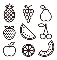 fruit icons isolated on white background vector image