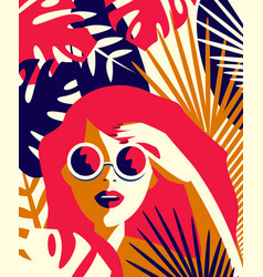 Girl in sunglasses among tropical plants vector