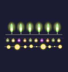 Glowing christmas garland light bulbs for xmas vector