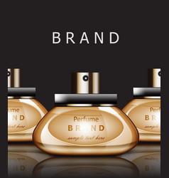 Golden perfume realistic packaging vector