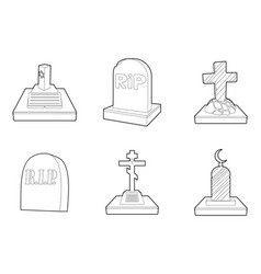 grave icon set outline style vector image
