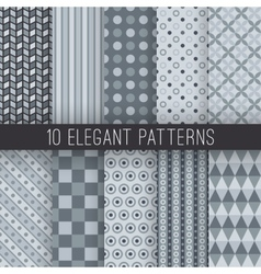 Grey elegant seamless patterns vector image