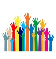 Group hands of different colors vector