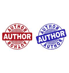 Grunge author textured round stamp seals vector