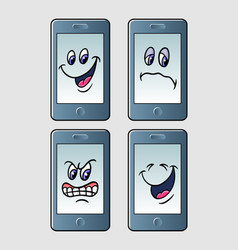 Handphone emoticon icon cartoon character vector
