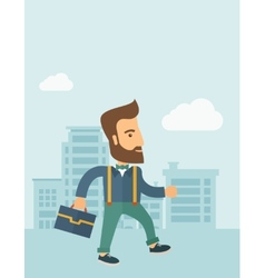 Handsome young man walking vector image