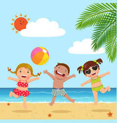 Happy kids jumping on the beach vector