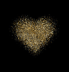 heart with glitter confetti on black background vector image