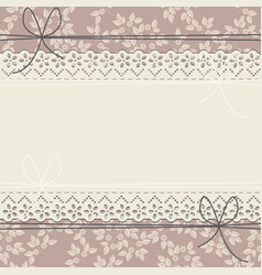 Horizontal lace frame with flowers and bows vector