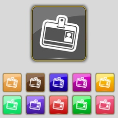 Id card icon sign Set with eleven colored buttons vector image