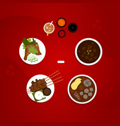 Indonesian food collection flat vector