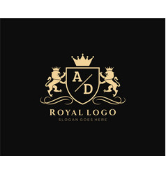 Initial ad letter lion royal luxury heraldiccrest vector