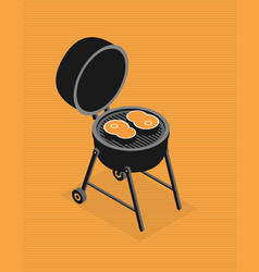 invitation card on the barbecue flat vector image