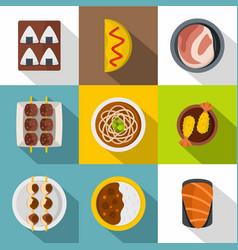 japan food icon set flat style vector image