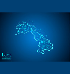 laos map with nodes linked by lines concept of vector image