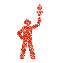 leader with freedom torch icon grunge watermark vector image
