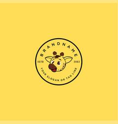 Logo design giraffe child cartoon vector