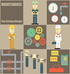 Maintenance People Flat Cartoon vector image vector image