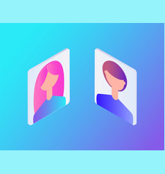 male and female profiles set vector image