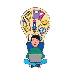 man with laptop and bulb creativity education vector image