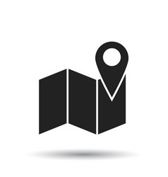Map with pin icon flat location sign symbol vector