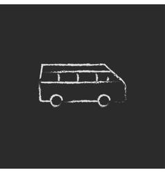 Minibus icon drawn in chalk vector
