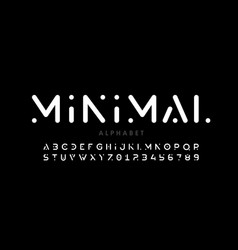 minimal style font alphabet letters and numbers vector image