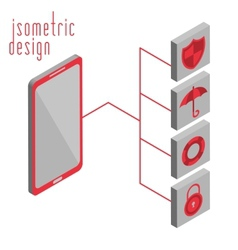 Mobile phone in isometric projection vector image