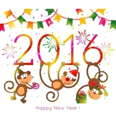 Monkey New Year 2016 vector image